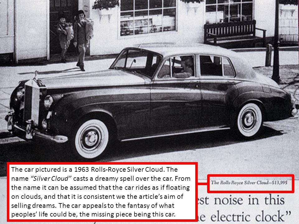 The car pictured is a 1963 Rolls-Royce Silver Cloud.