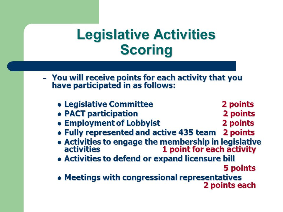 Legislative Activities Scoring – You will receive points for each activity that you have participated in as follows: Legislative Committee 2 points Legislative Committee 2 points PACT participation 2 points PACT participation 2 points Employment of Lobbyist 2 points Employment of Lobbyist 2 points Fully represented and active 435 team 2 points Fully represented and active 435 team 2 points Activities to engage the membership in legislative activities 1 point for each activity Activities to engage the membership in legislative activities 1 point for each activity Activities to defend or expand licensure bill Activities to defend or expand licensure bill 5 points 5 points Meetings with congressional representatives 2 points each Meetings with congressional representatives 2 points each