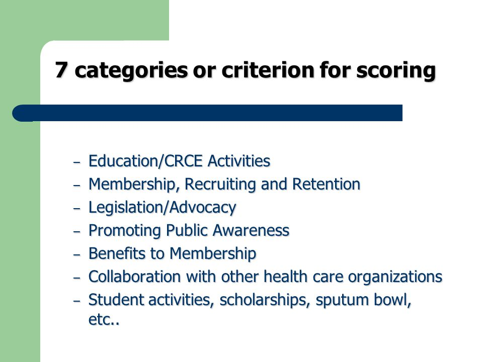 7 categories or criterion for scoring – Education/CRCE Activities – Membership, Recruiting and Retention – Legislation/Advocacy – Promoting Public Awareness – Benefits to Membership – Collaboration with other health care organizations – Student activities, scholarships, sputum bowl, etc..
