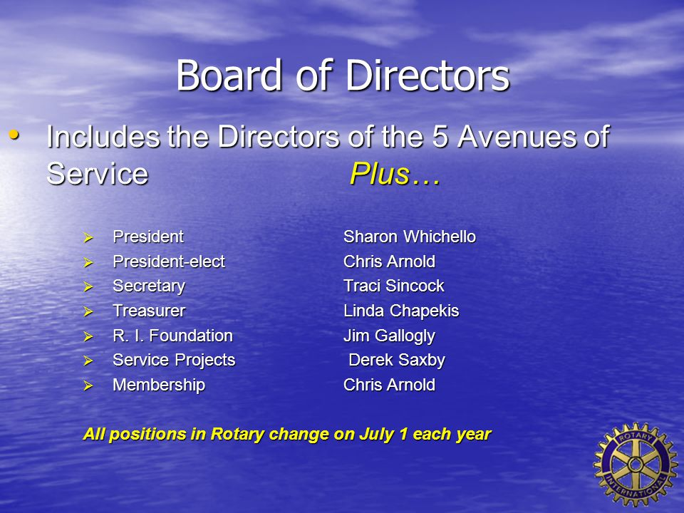 Board of Directors Includes the Directors of the 5 Avenues of Service Plus… Includes the Directors of the 5 Avenues of Service Plus…  PresidentSharon