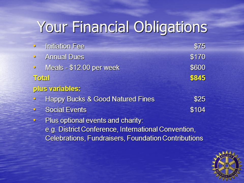 Your Financial Obligations Initiation Fee$75 Initiation Fee$75 Annual Dues $170 Annual Dues $170 Meals - $12.00 per week $600 Meals - $12.00 per week