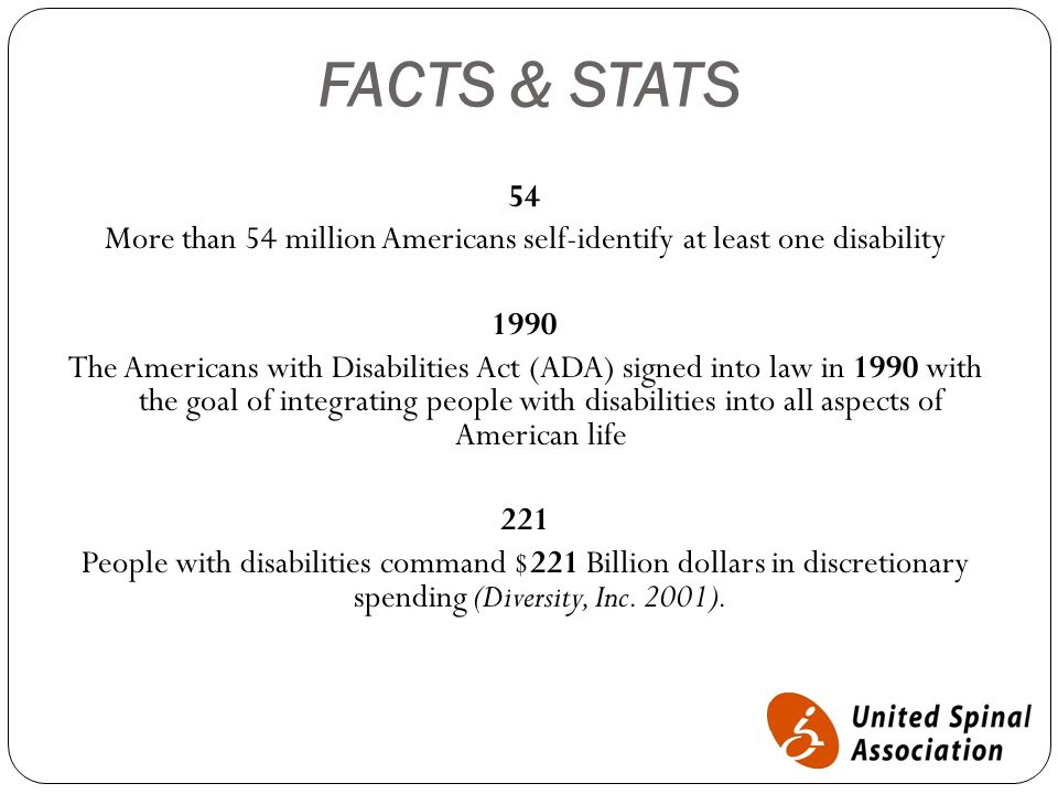 FACTS & STATS 54 More than 54 million Americans self-identify at least one disability 1990 The Americans with Disabilities Act (ADA) signed into law in 1990 with the goal of integrating people with disabilities into all aspects of American life 221 People with disabilities command $221 Billion dollars in discretionary spending (Diversity, Inc.