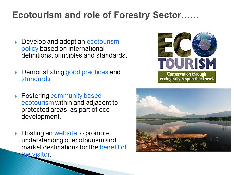 Ecotourism and role of Forestry Sector……  Develop and adopt an ecotourism policy based on international definitions, principles and standards.