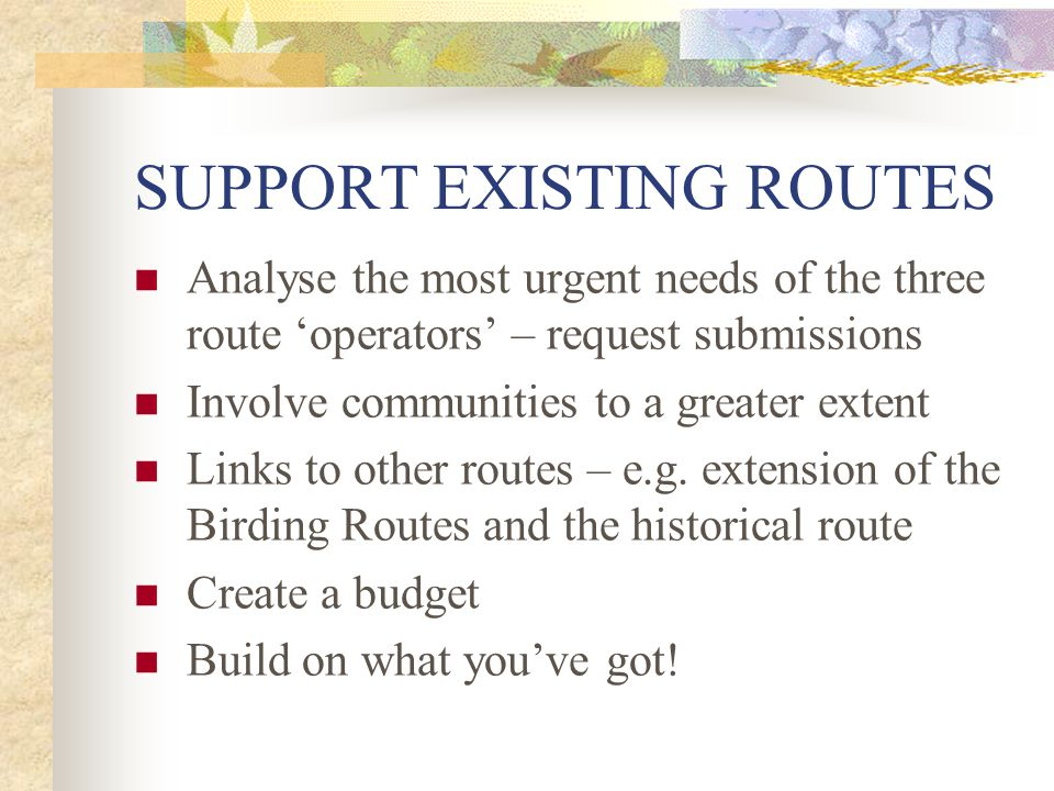 SUPPORT EXISTING ROUTES Analyse the most urgent needs of the three route 'operators' – request submissions Involve communities to a greater extent Links to other routes – e.g.