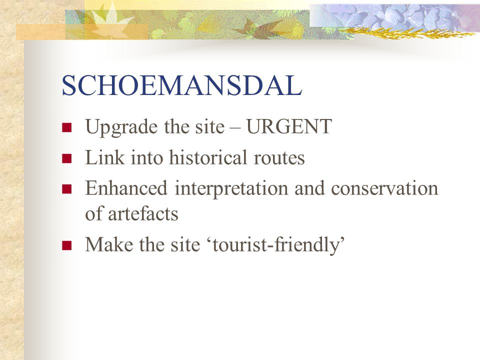 SCHOEMANSDAL Upgrade the site – URGENT Link into historical routes Enhanced interpretation and conservation of artefacts Make the site 'tourist-friendly'