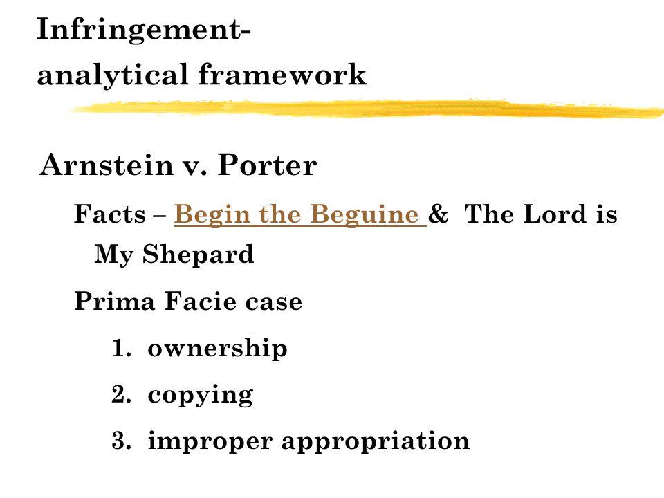 Infringement- analytical framework Arnstein v.