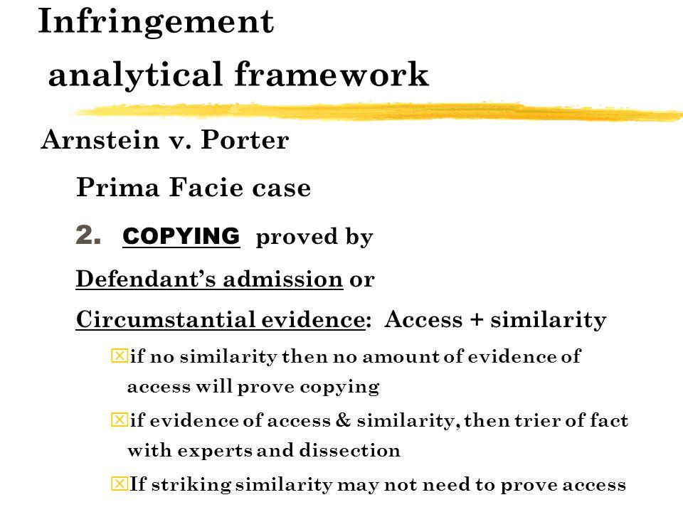 Infringement analytical framework Arnstein v. Porter Prima Facie case 2.