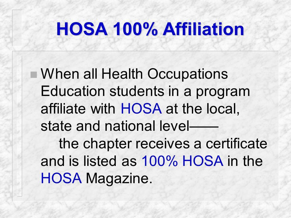 HOSA is... n 100% Health Care!