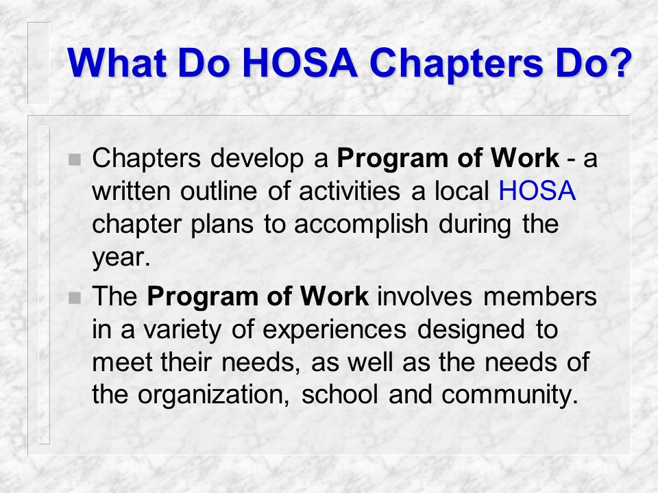 HOSA 100 Club n Those chapters that submit their paid affiliation fee by October 15 will be recognized as part of the HOSA 100 Club in the HOSA Magazine.