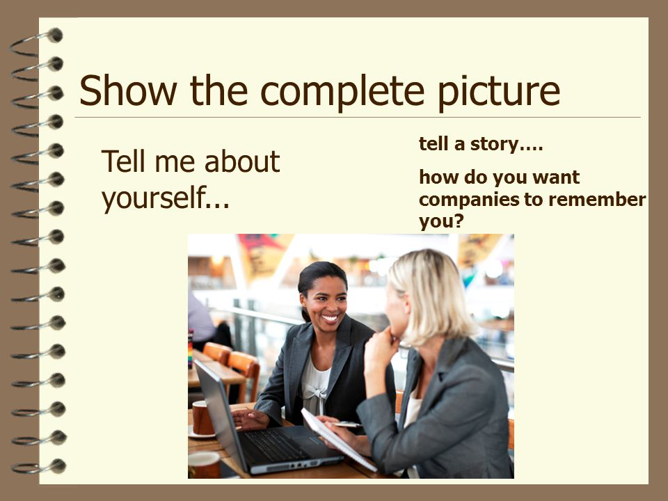 Show the complete picture Tell me about yourself...