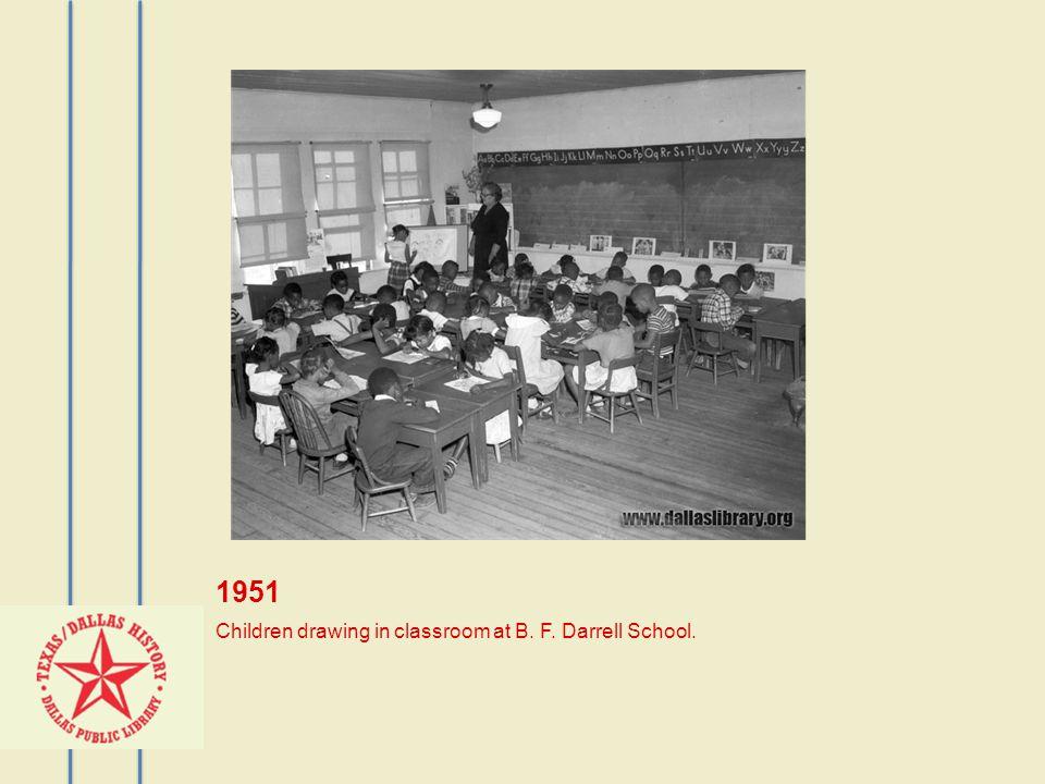 1951 Children drawing in classroom at B. F. Darrell School.