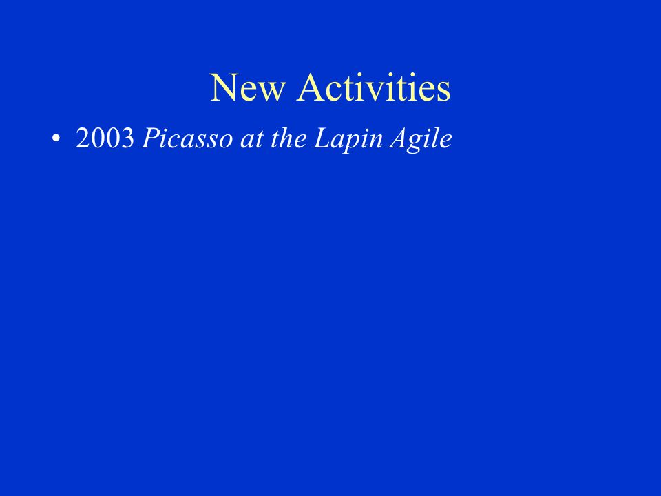 New Activities 2003 Picasso at the Lapin Agile