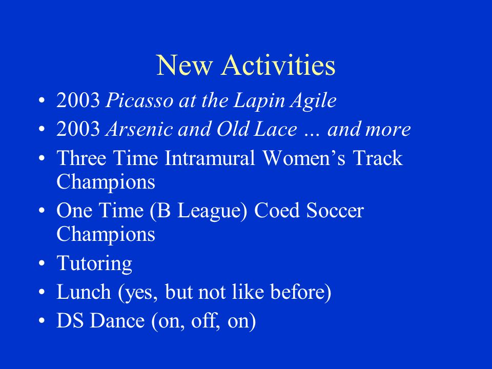 New Activities 2003 Picasso at the Lapin Agile 2003 Arsenic and Old Lace … and more Three Time Intramural Women's Track Champions One Time (B League) Coed Soccer Champions Tutoring Lunch (yes, but not like before) DS Dance (on, off, on)