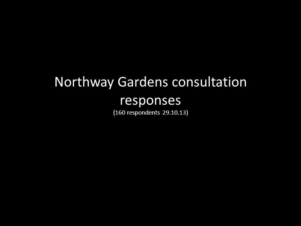Northway Gardens consultation responses (160 respondents 29.10.13)