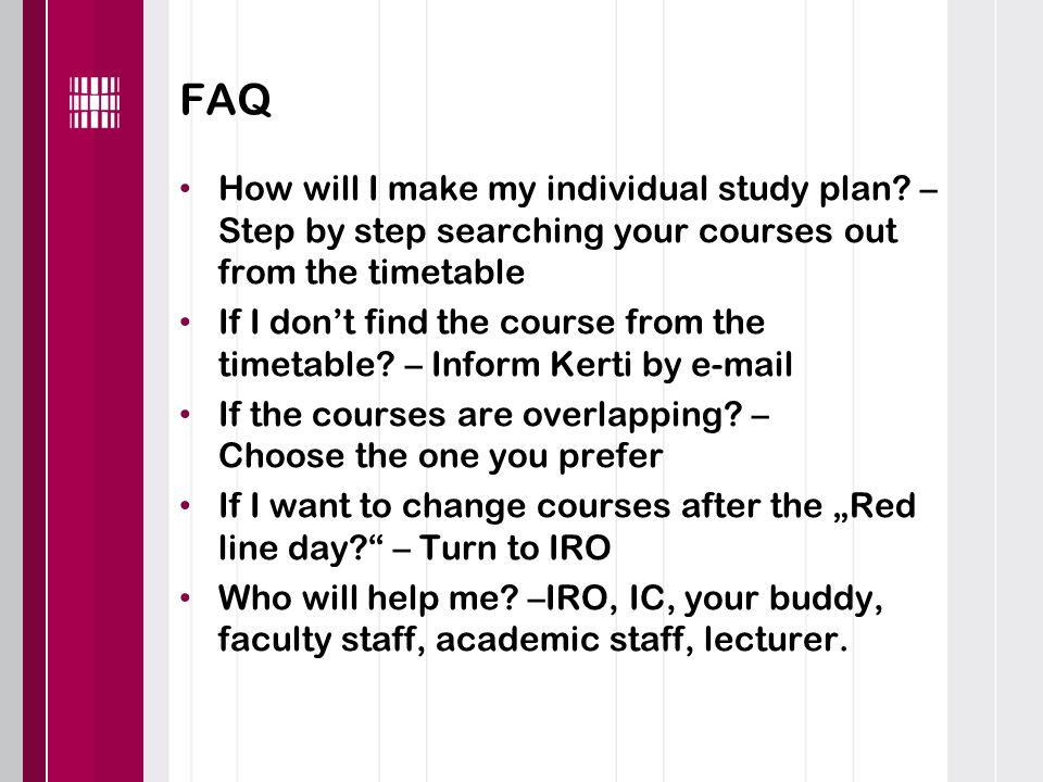 FAQ How will I make my individual study plan.