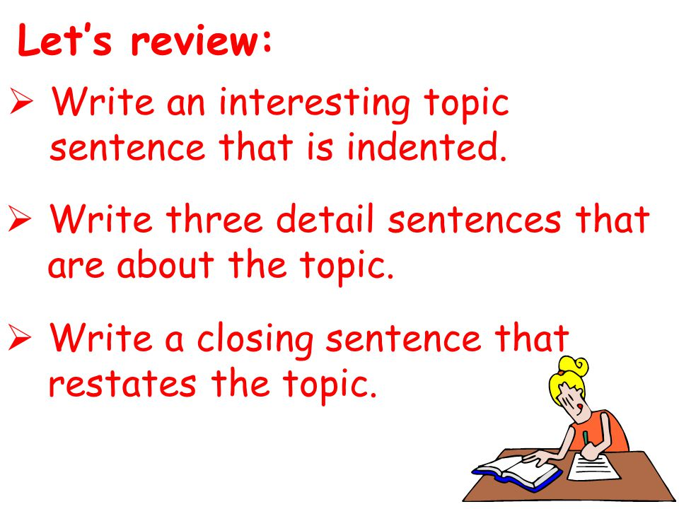 Let's review:  Write an interesting topic sentence that is indented.