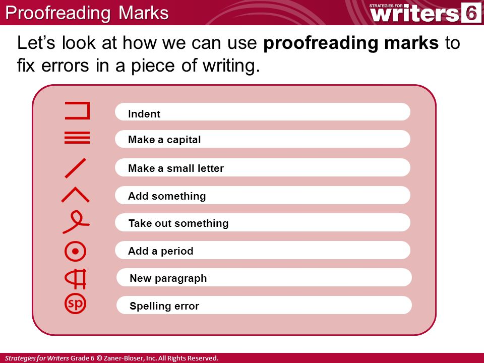 Strategies for Writers Grade 6 © Zaner-Bloser, Inc. All Rights Reserved. Proofreading Marks Give me the newspaper. Let's look at how we can use proofr