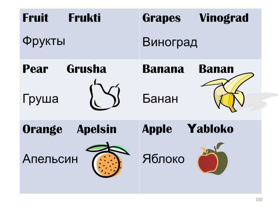 100 Fruit Frukti Фрукты Grapes Vinograd Виноград Pear Grusha Груша Banana Banan Банан Orange Apelsin Апельсин Apple Y abloko Яблоко