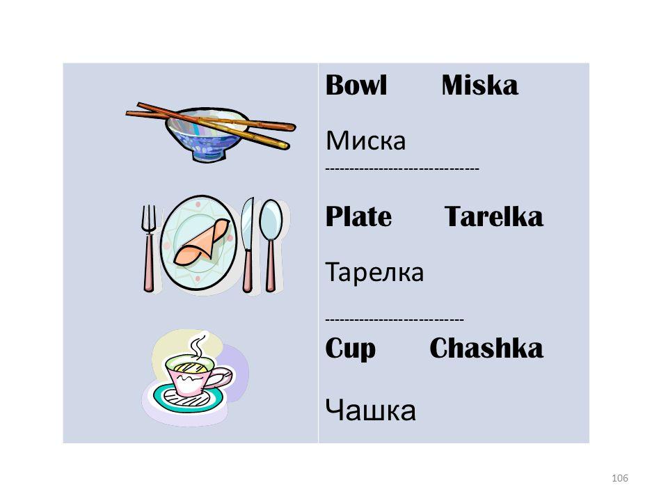106 Bowl Miska Миска ------------------------------- Plate Tarelka Тарелка ---------------------------- Cup Chashka Чашка