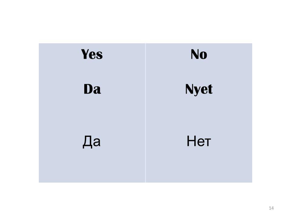14 Yes Da Да No Nyet Нет