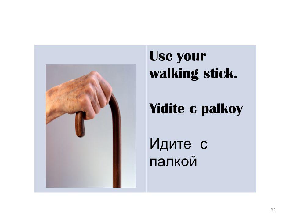 23 Use your walking stick. Yidite c palkoy Идите с палкой