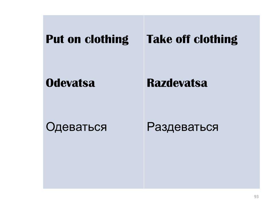 93 Put on clothing Odevatsa Одеваться Take off clothing Razdevatsa Раздеваться