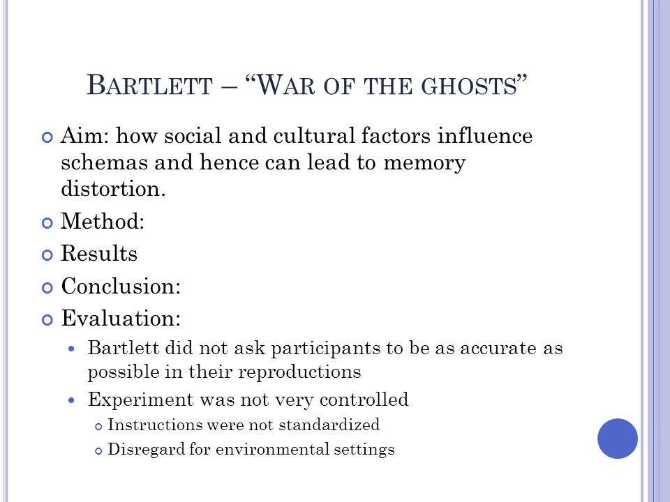 """B ARTLETT – """"W AR OF THE GHOSTS """" Aim: how social and cultural factors influence schemas and hence can lead to memory distortion. Method: Results Conc"""