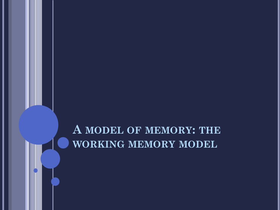 A MODEL OF MEMORY : THE WORKING MEMORY MODEL
