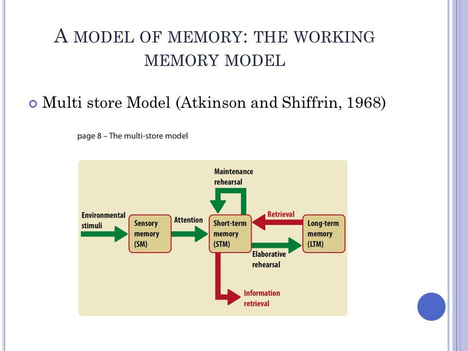 Multi store Model (Atkinson and Shiffrin, 1968)
