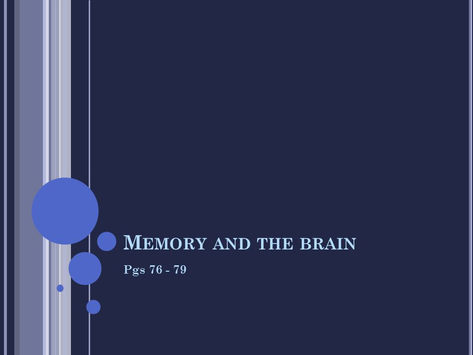 M EMORY AND THE BRAIN Pgs 76 - 79
