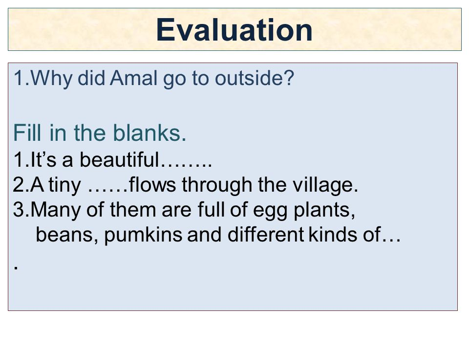 Evaluation 1.Why did Amal go to outside. Fill in the blanks.