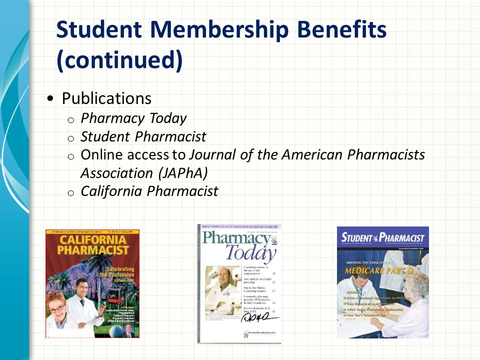 Student Membership Benefits (continued) Publications o Pharmacy Today o Student Pharmacist o Online access to Journal of the American Pharmacists Association (JAPhA) o California Pharmacist