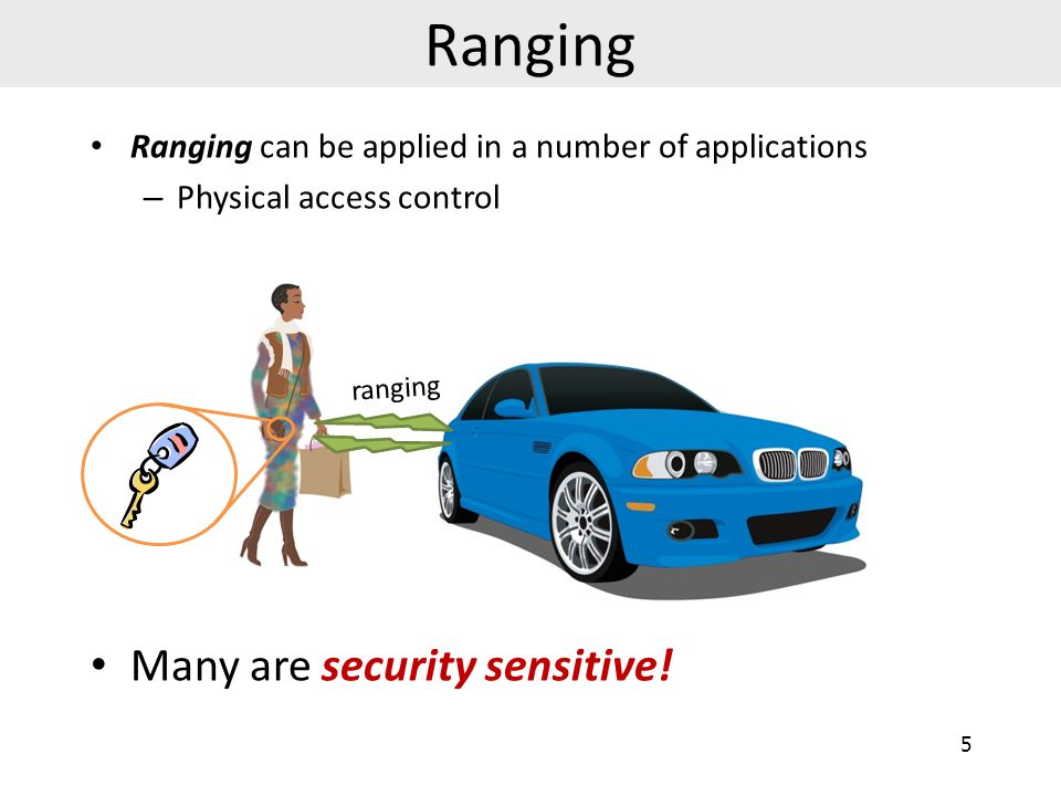 Ranging can be applied in a number of applications – Physical access control Many are security sensitive.