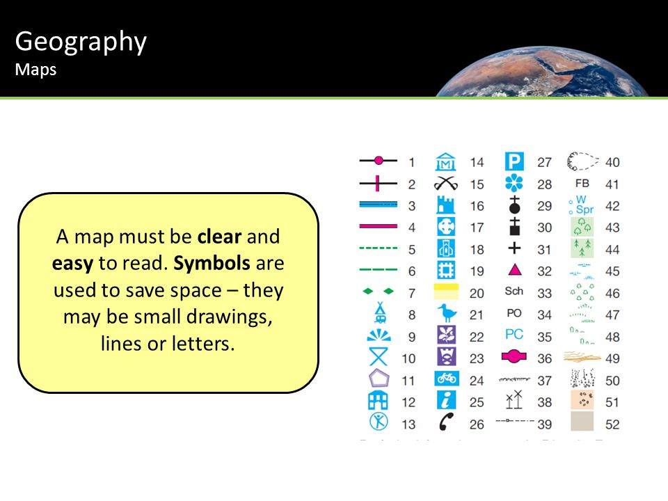 A map must be clear and easy to read. Symbols are used to save space – they may be small drawings, lines or letters. Geography Maps