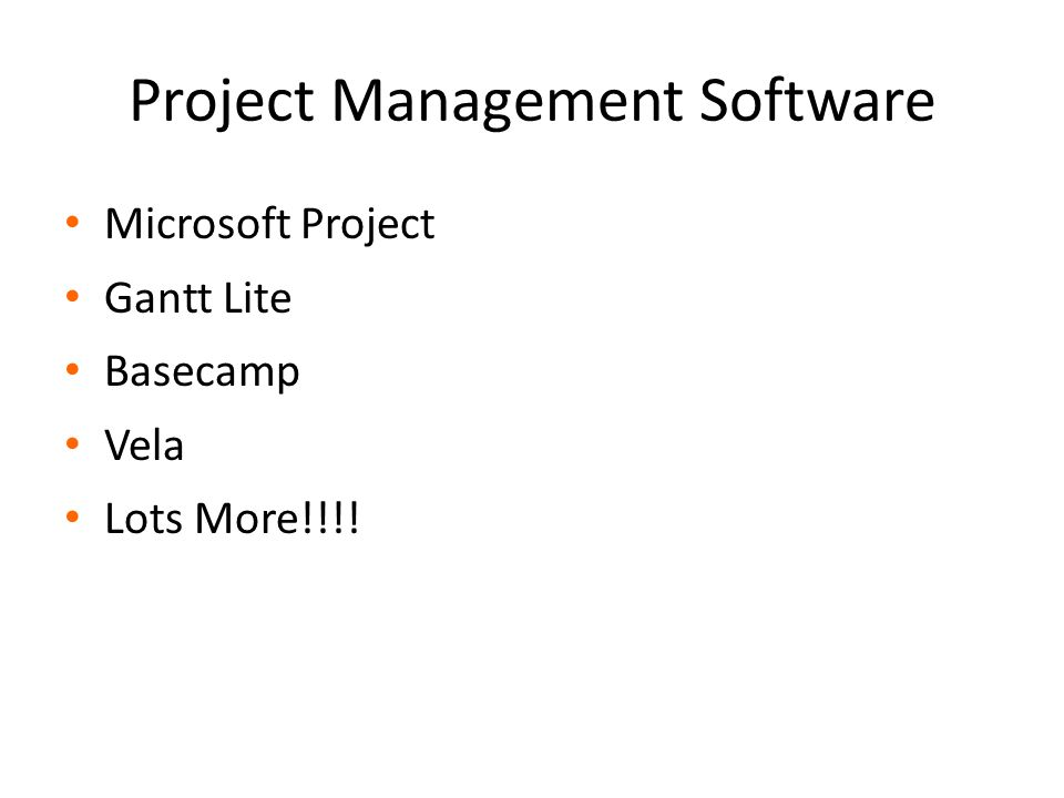Project Management Software Microsoft Project Gantt Lite Basecamp Vela Lots More!!!!