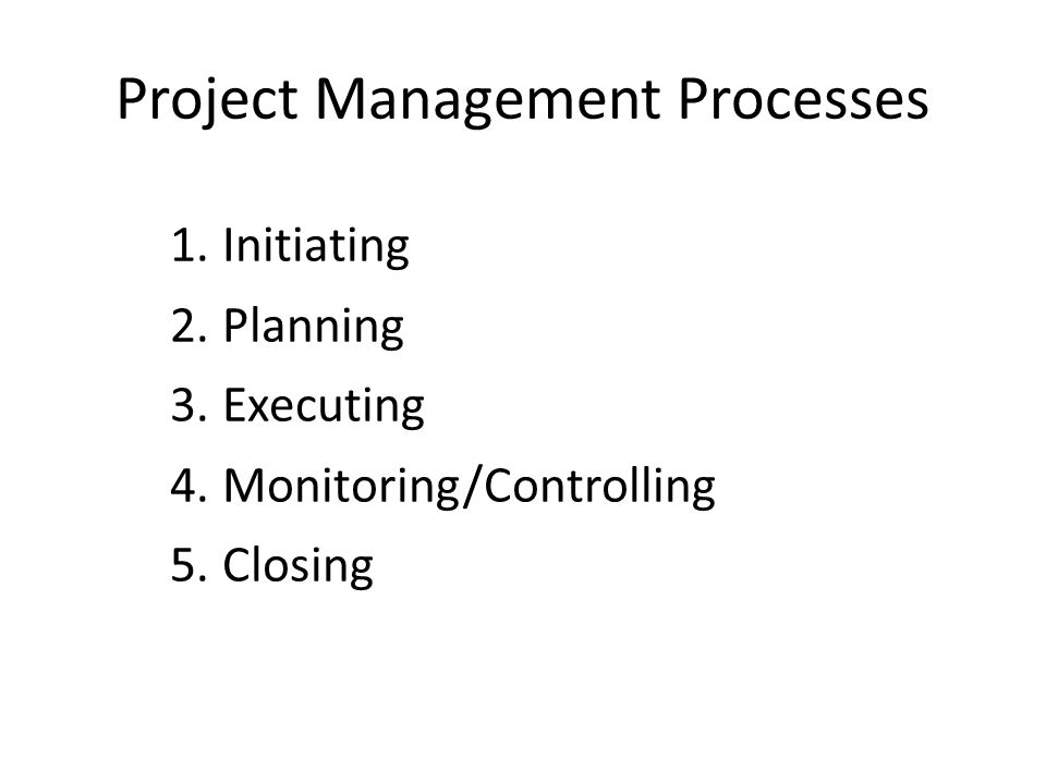Project Management Processes 1.Initiating 2.Planning 3.Executing 4.Monitoring/Controlling 5.Closing