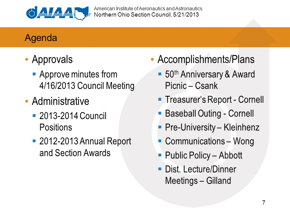 American Institute of Aeronautics and Astronautics Northern Ohio Section Council, 5/21/2013 Agenda Approvals  Approve minutes from 4/16/2013 Council