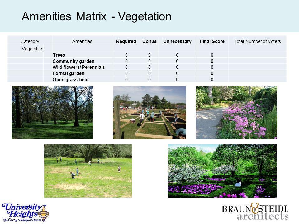 Amenities Matrix - Vegetation CategoryAmenitiesRequiredBonusUnnecessaryFinal ScoreTotal Number of Voters Vegetation Trees0000 Community garden0000 Wild flowers/ Perennials0000 Formal garden0000 Open grass field0000
