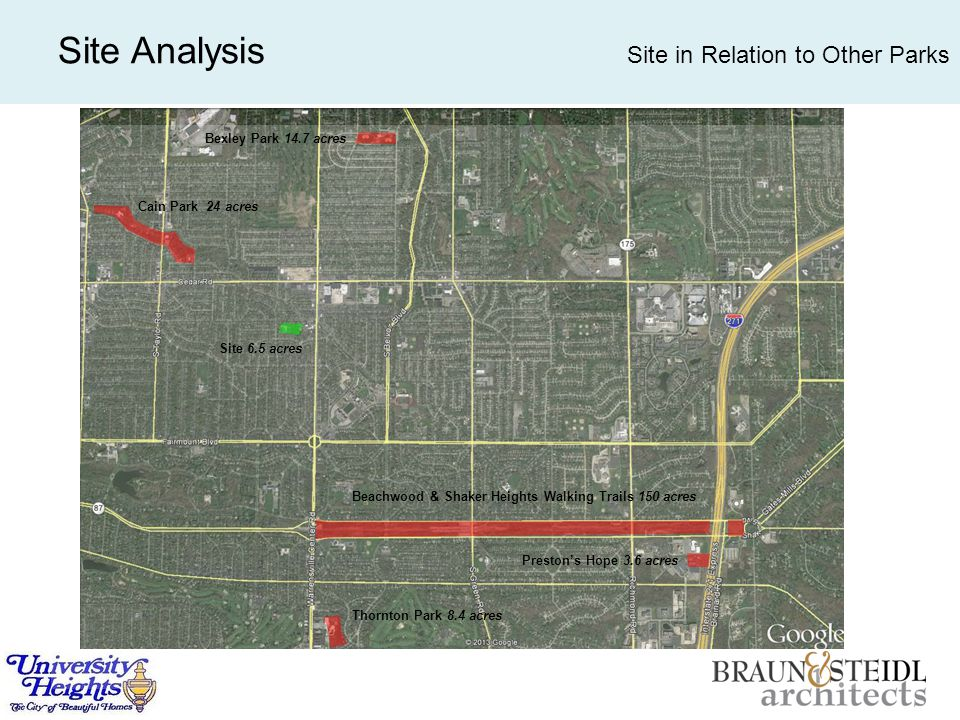 Site Analysis Site in Relation to Other Parks Cain Park 24 acres Bexley Park 14.7 acres Site 6.5 acres Beachwood & Shaker Heights Walking Trails 150 acres Thornton Park 8.4 acres Preston's Hope 3.6 acres