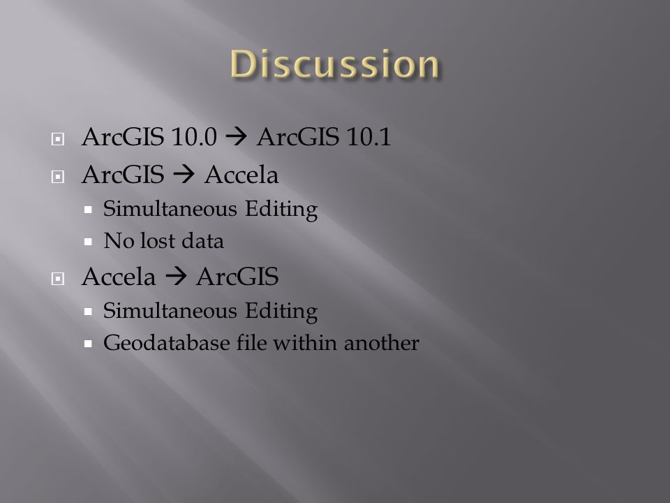  ArcGIS 10.0  ArcGIS 10.1  ArcGIS  Accela  Simultaneous Editing  No lost data  Accela  ArcGIS  Simultaneous Editing  Geodatabase file within another