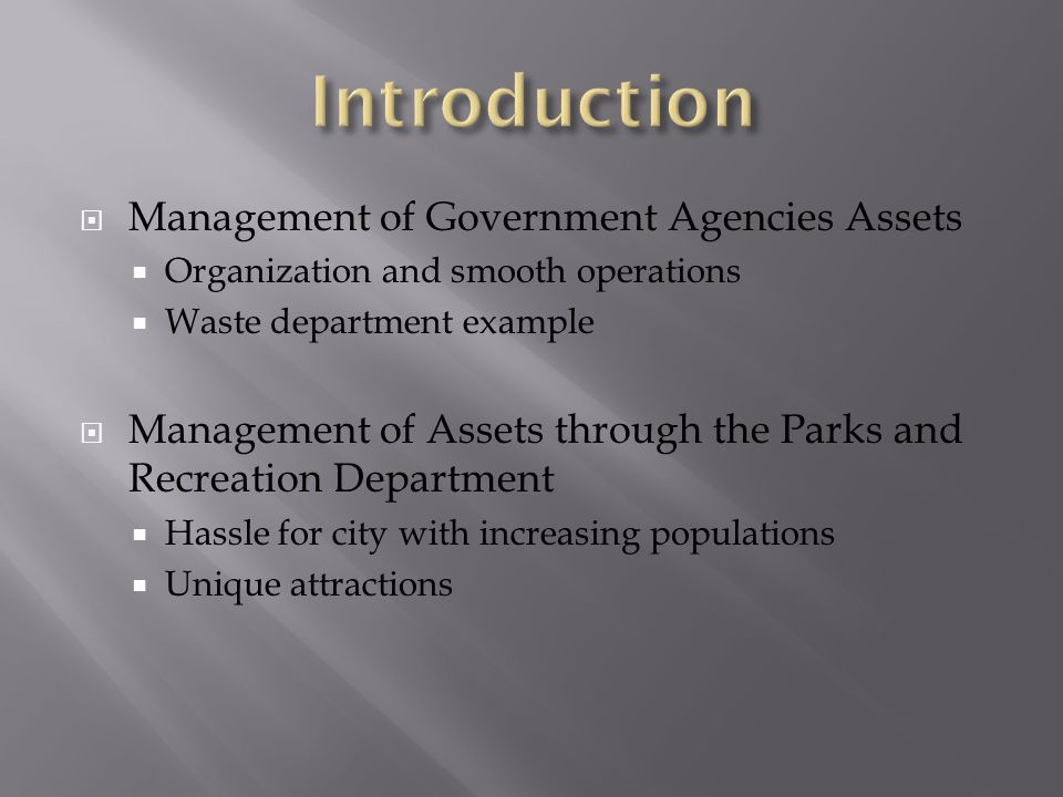  Management of Government Agencies Assets  Organization and smooth operations  Waste department example  Management of Assets through the Parks and Recreation Department  Hassle for city with increasing populations  Unique attractions