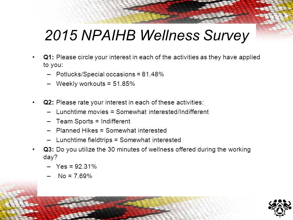 2015 NPAIHB Wellness Survey Q1: Please circle your interest in each of the activities as they have applied to you: –Potlucks/Special occasions = 81.48% –Weekly workouts = 51.85% Q2: Please rate your interest in each of these activities: –Lunchtime movies = Somewhat interested/Indifferent –Team Sports = Indifferent –Planned Hikes = Somewhat interested –Lunchtime fieldtrips = Somewhat interested Q3: Do you utilize the 30 minutes of wellness offered during the working day.