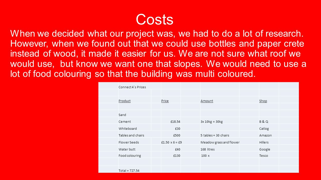 Costs When we decided what our project was, we had to do a lot of research.