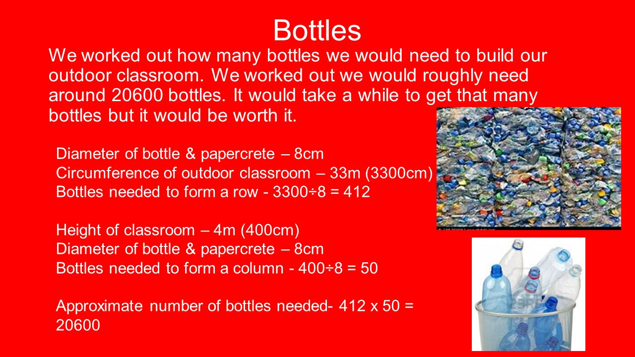 Bottles We worked out how many bottles we would need to build our outdoor classroom.
