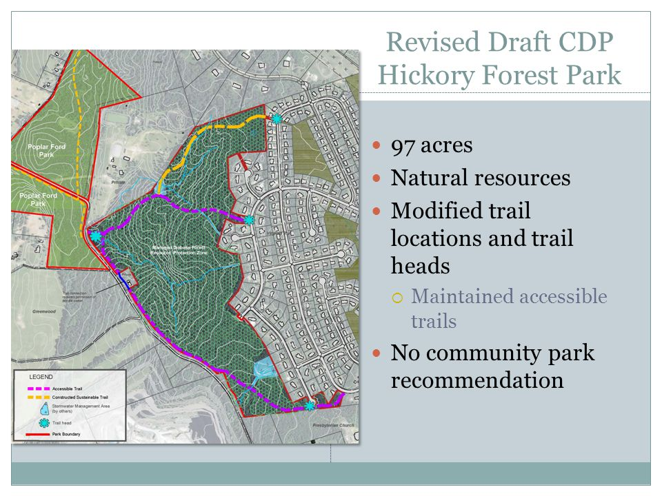 Revised Draft CDP Hickory Forest Park 97 acres Natural resources Modified trail locations and trail heads  Maintained accessible trails No community park recommendation