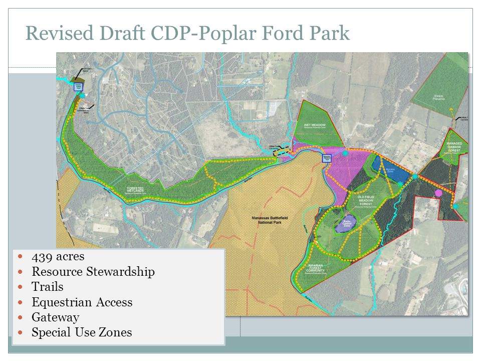 Revised Draft CDP-Poplar Ford Park 439 acres Resource Stewardship Trails Equestrian Access Gateway Special Use Zones