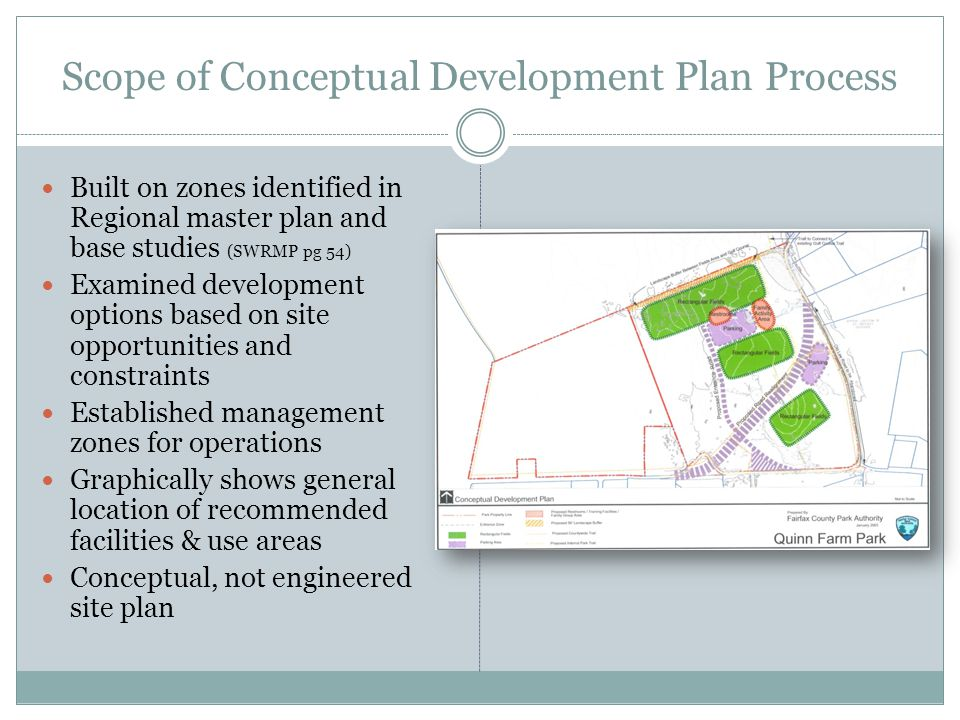 Scope of Conceptual Development Plan Process Built on zones identified in Regional master plan and base studies (SWRMP pg 54) Examined development options based on site opportunities and constraints Established management zones for operations Graphically shows general location of recommended facilities & use areas Conceptual, not engineered site plan