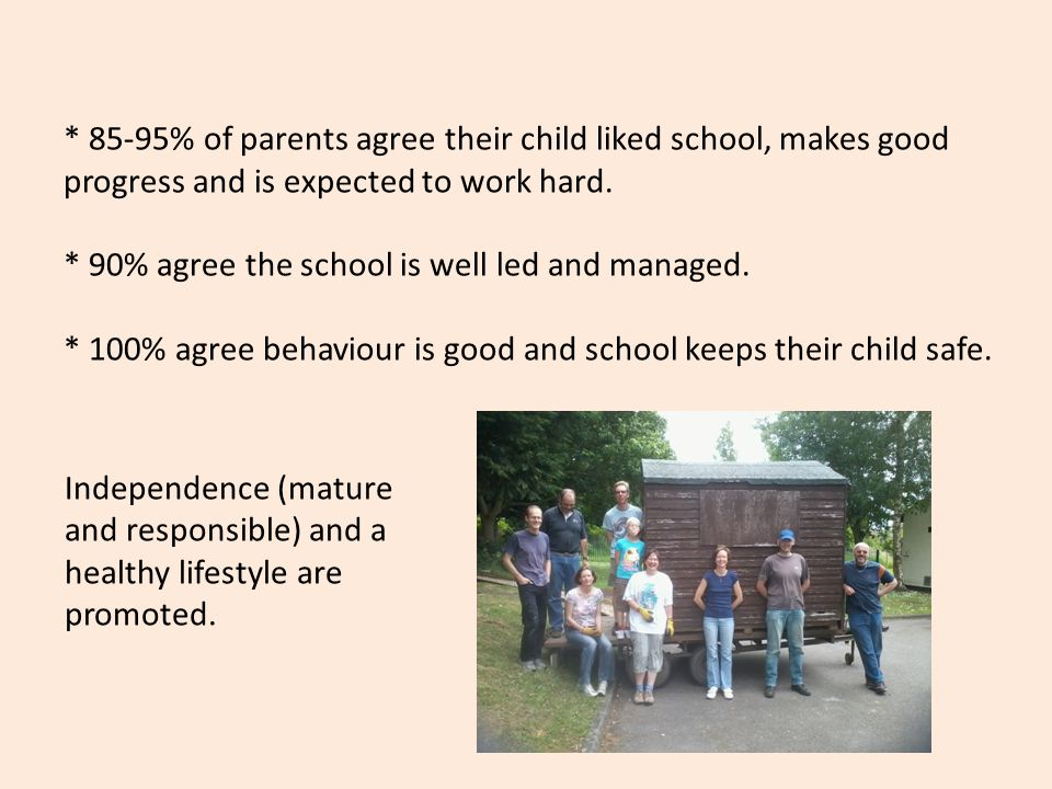 * 85-95% of parents agree their child liked school, makes good progress and is expected to work hard.