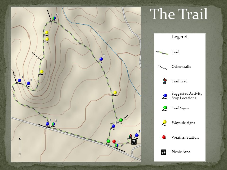 N Legend Trail Other trails Trailhead Suggested Activity Stop Locations Trail Signs Wayside signs Weather Station Picnic Area The Trail