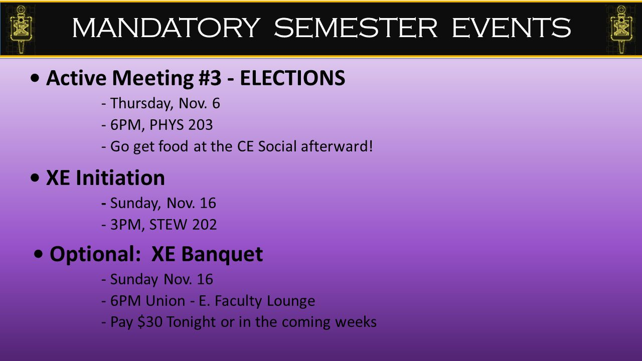Active Meeting #3 - ELECTIONS - Thursday, Nov.